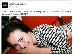 American Apparel Facebook page