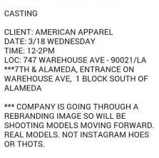 American Apparel, Casting