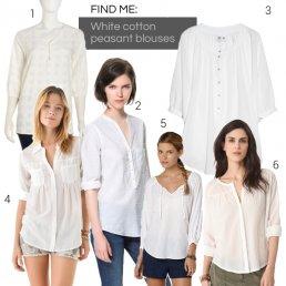 White cotton peasant blouses