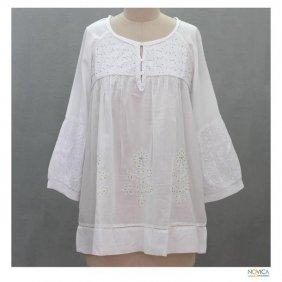 Womens White Cotton Blouse 63
