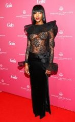 Naomi Campbell without bra at Gala salon Awards