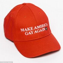Statement piece: American Apparel has brought a swipe at Donald Trump by advertising 'Make America Gay Again' campaign, which includes a limit, pictured, when you look at the screen of the ny shop in Trump Plaza