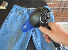 wax your own clothing use hair dryer to heat clothes jeans