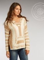 Womens undyed natural cotton fiber knit Baja hoodie by Indigenous